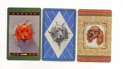 3 Vintage Playing Cards ~ Cocker Spaniel Puppy Dogs ~ 1 Blank Swap