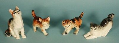 Four Vintage Porcelain ORANGE TABBY? CATS All with STICKERS OR MARKINGS