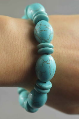 Fine Collectable Handwork Turquoise Carve Texture Royal Auspicious Bead Bracelet