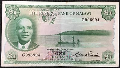 Malawi £1 Bank Note 1964 Pick 3 High Grade Very Scarce Note Seldom Offered