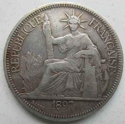 French Indochina Vietnam 1897-A Silver Piastre