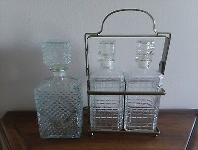 3 Vintage Brass Glass Decanters Tantalus 2 With Caddy