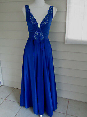 Vintage Olga Nightgown 92270 Grand Full Sweep Cobalt Blue Gown Size L