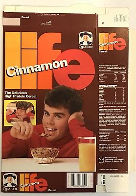 Vintage 1986 Quaker Oats Cinnamon Life Cereal Box,Mikey Likes It Cover,Trivia