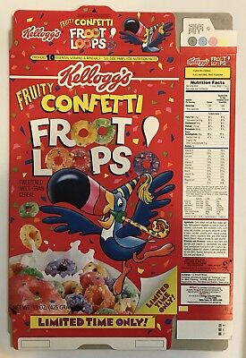 Vintage 1989 Kellogg's Limited Fruity Confetti Froot Loops Cereal Box,unused