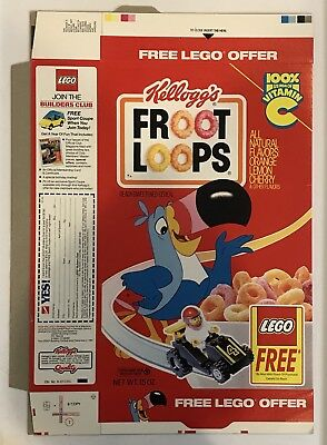 Vintage 1990 Kellogg's Froot Loops Cereal Box,Free LEGO Premium Offer,Unused