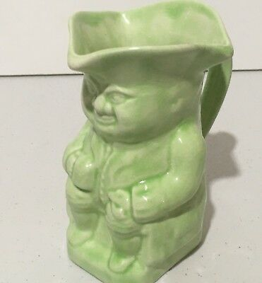 VINTAGE SITTING TOBY JUG. MADE IN ENGLAND  No. 3 TOBY SOFT GREEN COLOUR