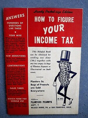 """1942 Mr. Peanut-Planter's Peanuts """"How To Figure Your Income Tax"""" 48 Pg. Book!"""
