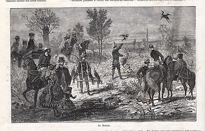 Bird Falconry Hunting Heron, Sidesaddle, 1870s Antique Engraving Print & Article