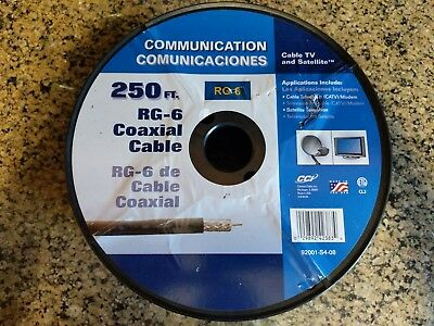 250 FT RG-6 Black Coax Cable Spool for Cable and Satellite Use