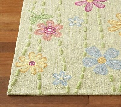 Pottery Barn Kids Garden Daisy Handcrafted Wool Area Rug Green Pink Flower 3x5