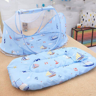 3PCS Baby Mosquito Net Bed Net padded Mattress Pillow Tent Foldable Portable New