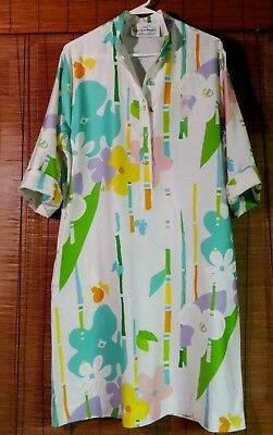 Vtg Reto Penthouse Gallery Catherian Ogust Dress Tropical Floral Size 12
