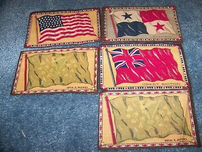 "Tobacco Felt Premium Flannel 5 Antique - 6-1/2"" x 4"" US Flag,Ireland,Pananma,GB"