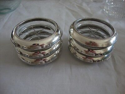 Whiting Sterling Silver & Glass Coasters,Set of Six (6),Signed,NoMono,Excellent