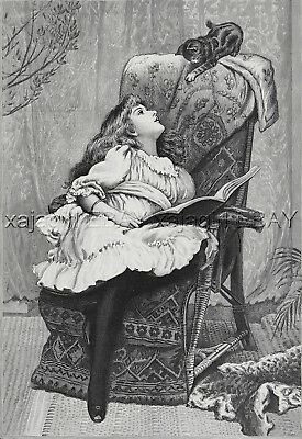 Cat Kitten Plays with Girl Reading a Book Bibliophile, Large 1880s Antique Print