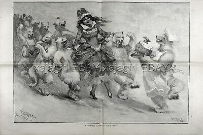 Christmas Polar Bear Dance Christ Pudding, Huge Double-Folio 1880s Antique Print