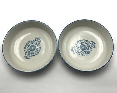 Franciscan Discovery Medallion Blue Cereal Soup Bowls Set Of 2
