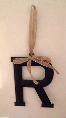 """New Black Metal Letter """"r"""" With Tan Ribbon To Hang On Wall 5.5"""" T X 4.5"""""""