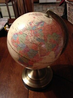 "Fucashun Lighted Globe Touch Lamp 12 1/2"" T World Maps Geography Home School"