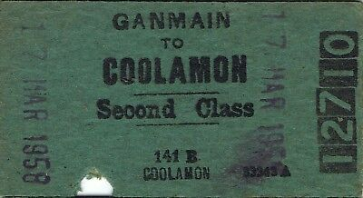 Railway tickets a trip from Ganmain to Coolamon by the old NSWGR in 1958