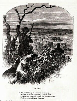 DOG English Setter with Hunter Llewellyn, Beautiful Antique 1880s Print & Poem