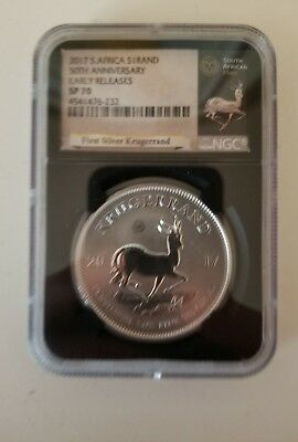 2017 South Africa $1 Rand NGC SP70 EARLY RELEASE KRUGERRAND 1st Year Silver