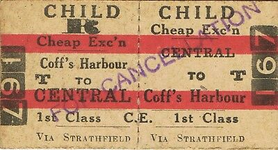 Railway tickets a trip from Central to Coff's Harbour by the old NSWGR
