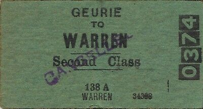 Railway tickets a trip from Geurie to Warren by the old NSWGR