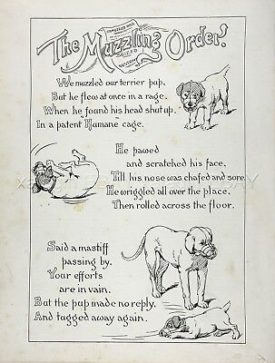 Dog Mastiff & Fox Terrier Comic Poem About Muzzling, Two 1890s Antique Prints