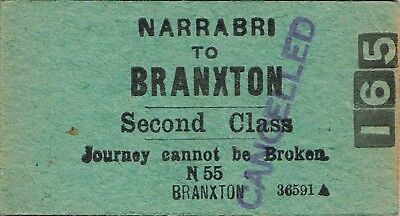 Railway tickets a trip from Narrabri to Branxton by the old NSWGR