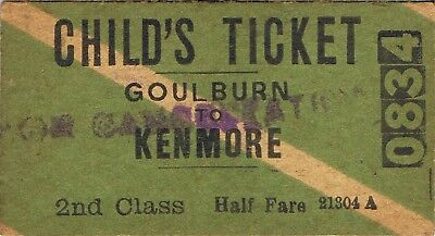 Railway tickets a trip from Goulburn to Kenmore by the old NSWGR