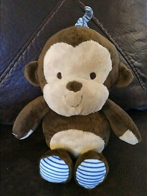 Carters Monkey Musical Brown Blue Stripe Feet Child Of Mine Crib Pull Toy BRAHMS