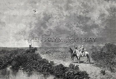 Falconry in Africa by Horseback, Large Beautiful 1880s Antique Print