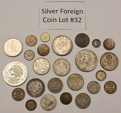 Foreign Silver Coin Lot: Collection of Old World Silver Coins #32