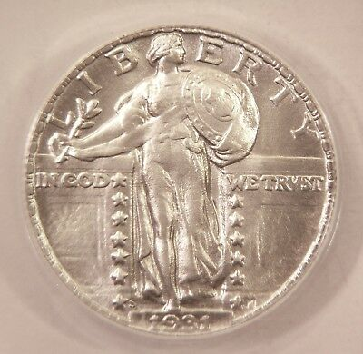 1931 S Daniel Carr Overstruck Standing Liberty Quarter ANACS MS69 Die 1 Coin