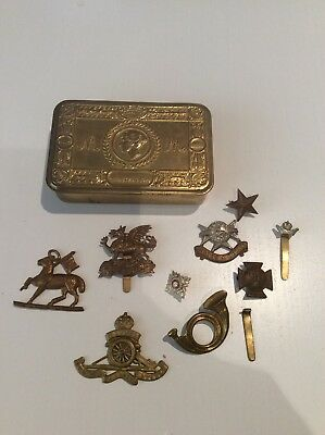 ww1 princess mary chocolate tin with mixed regiment badges