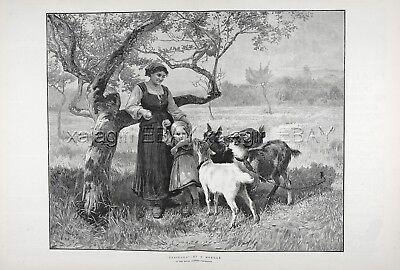 Goats Beg for Apple From Girl & Mother, Huge Double-folio 1880s Antique Print