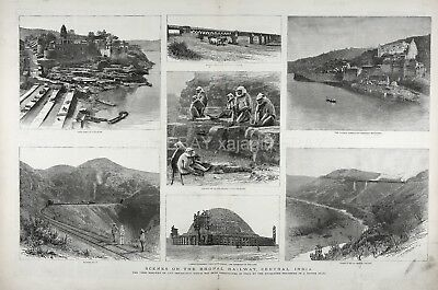 India Bhopal Madhya Pradesh, Sacred Monkeys, Huge Double 1880s Antique Print
