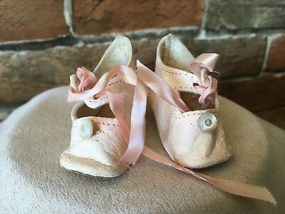 Adorable Pink Leather Antique Doll Shoes