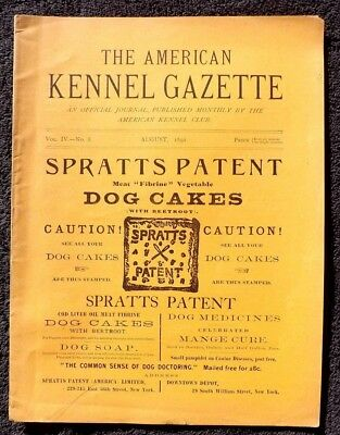 VINTAGE RARE 1892 THE AMERICAN KENNEL GAZETTE AKC DOG MAGAZINE Westminster Club