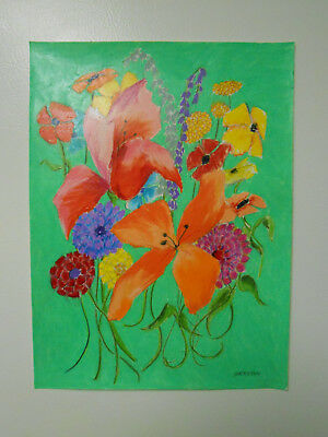 """Original Prisma Pencil Signed Drawing """"flowers On Green""""."""