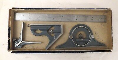 Vintage Craftsman 4 Piece Combination Square Set with Box