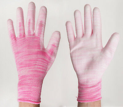 Polyurethane Coated Fabric Knit Work Gardening Gloves Pink Women Sz. Small / Lot