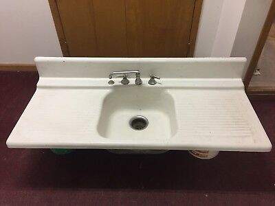 Antique Vintage Farmhouse Kitchen Laundry Farm Sink Kohler Cast Iron Porcelain