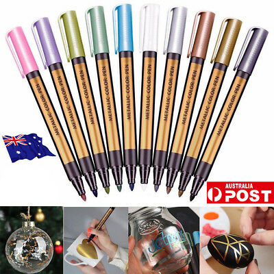 10 Colors Set Paint Marker Pens Metallic Sheen Glitter Calligraphy Arts Album MN
