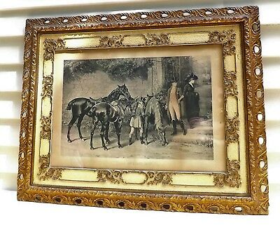 "RARE Orig.1885 Engraving""Twixt Love and Duty"" by Waller & LARGE Antique FRAME !"