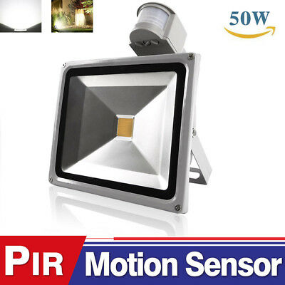 50W Cool White Large LED PIR Motion Sensor Flood Light Outdoor security Lamp