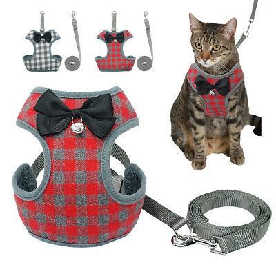 Cute Bowtie Cat Walking Harness Leash Collar Adjustable Red Grey Free Shipping