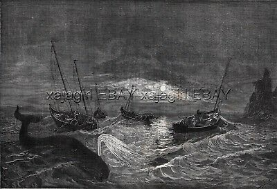 Whaling in Norway North Cape, Large 1870s Antique Engraving Print & Article